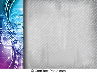 grey background with purple abstract border on the left