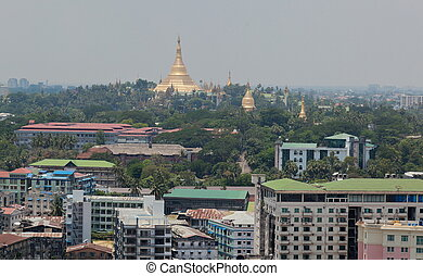 Bird's eye view of shwedagon paya (pagoda) stupa. Yangon....