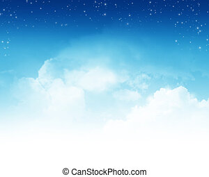 Cloudy sky with stars abstract background - Cloudy blue sky...