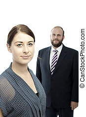 young brunette woman and beard business man portrait - young...