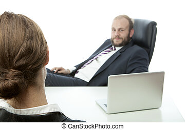 beard business man brunette woman at desk ignoring - beard...