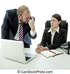 beard business man brunette woman at desk think employee is...