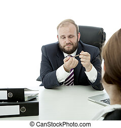 beard business man brunette woman at desk file nails and...