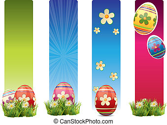 Easter banners with colorful Easter eggs