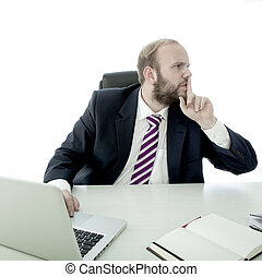 Bearded business man sign quiet to other people - Bearded...