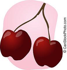 Cherries fruit illustration
