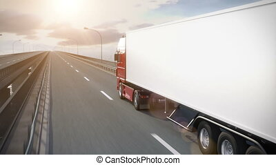 Truck driving along bridge - Truck driving along a bridge -...