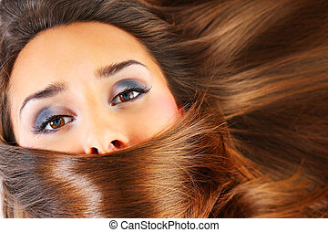 Healthy hair - A picture of a young woman with beautiful...