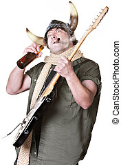 Rock Musician Drinking and Smoking - Rock musician with...