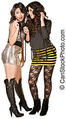 Club Girls Whispering - Young Hispanic females with...