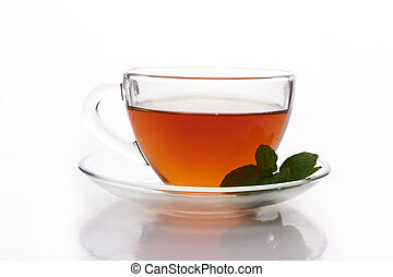 Cup tea with mint on a white background.