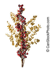 Sparkly Red Berries on Golden Leaves Isolated Background...