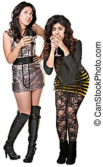 Drunk Club Girls - Drunk club girls playing with drinks over...