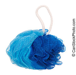 Bath sponge - New blue bath sponge isolated on white...