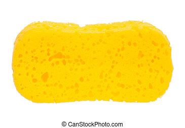 Bath sponge - New yellow bath sponge isolated on white...