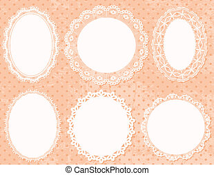 Lace Frames - Lace handmade frames on polka dot background.