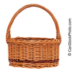 Wicker basket - New empty wicker basket isolated on white...