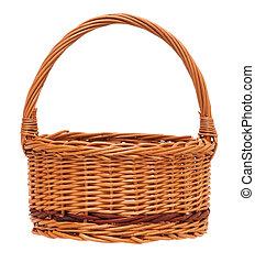 Wicker basket - New empty wicker basket isolated on white...