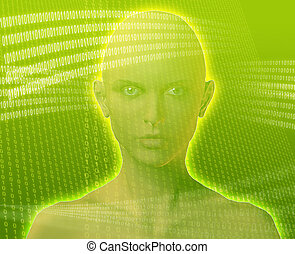 Digital woman - A woman\\\'s face, surrounded by digital...