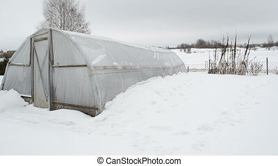 greenhouse snow garden - panorama of wooden diy homemade...