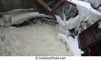 water stream ice winter