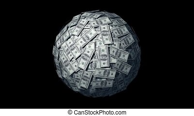 Money World US Dollars - Spinning globe made of Dollars...
