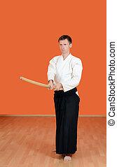 el, hombre, lleva, afuera, ejercicios, Aikido
