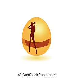 girl on the egg vector illustration