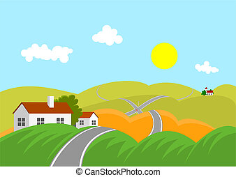 landscape with road - Summer mountainous landscape with road...