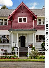 Classic large craftsman old American house exterior.