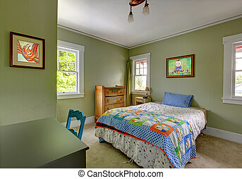 Kids bedroom with desk and green walls - Kids teenager...
