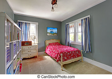 Kids bedroom with red bed and grey walls - Kids teenager...