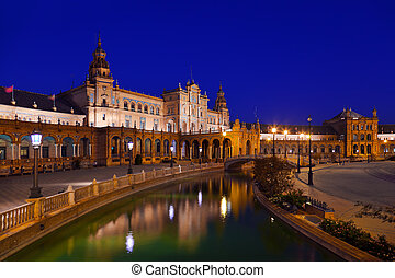 Palace at Spanish Square in Sevilla Spain - architecture...