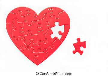 You Complete Me - Red heart puzzle and piece isolated on...