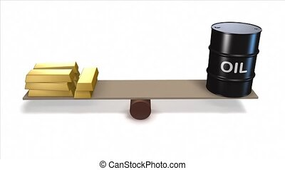 Oil barrel and gold ingots - Oil barrel and gold ingots on...