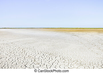 Camargue Rhone Park, cracked soil drought and horizon. Provence, France.