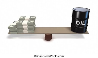 Oil barrel and Dollars on seesaw. - Oil barrel and Dollar...
