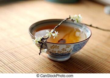 tea and blossom plum