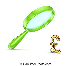 Green loupe and pound sterling symbol.Isolated on white...