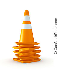 Isolated Stack of Traffic Cones - 3D Rendered Stack of...