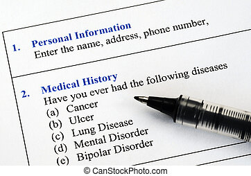 Medical history questionnaire - Filling the patient personal...