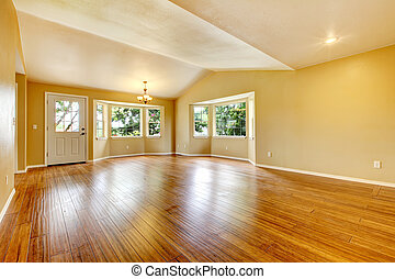 Large empty newly remodeled living room with wood floor