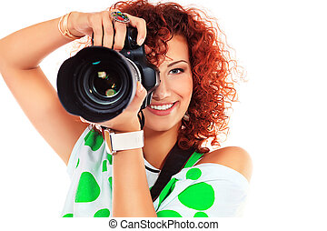 paparazzo girl - Pretty young woman taking pictures on the...