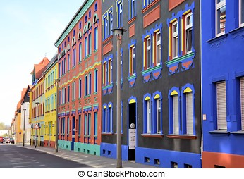 colored facades in a street in Magdeburg