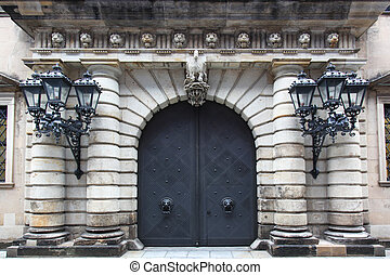 Gate Dresden Castle - the gate of the Dresden Castle,...
