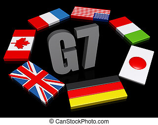 G7 Nations Dark BG - The text G8 encircled by the member...