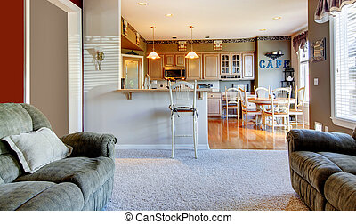 Living room near kitchen with two sofas.