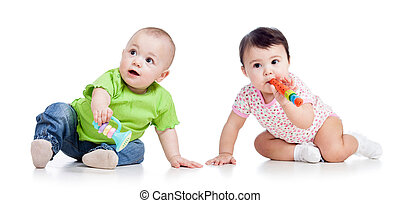 babies playing isolated - Funny babies girls with musical...