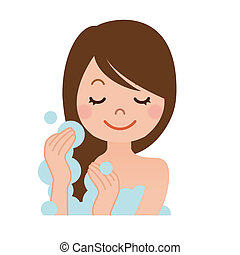 Woman washing her hair with shampoo