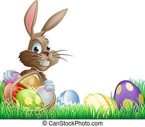Isolated Easter footer design with a bunny rabbit and...